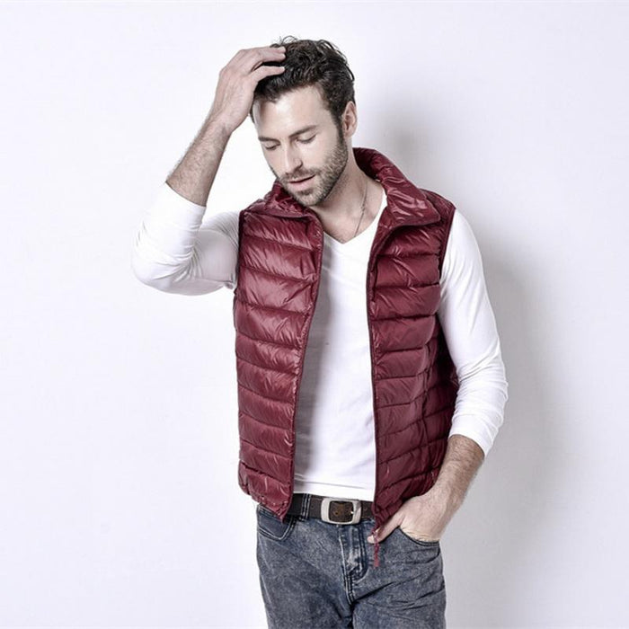 Uwback Colete Masculino 90% White Duck Down Light Vest Men Plus Size Slim-Vests-Bargain Bait Box-red-S-Bargain Bait Box