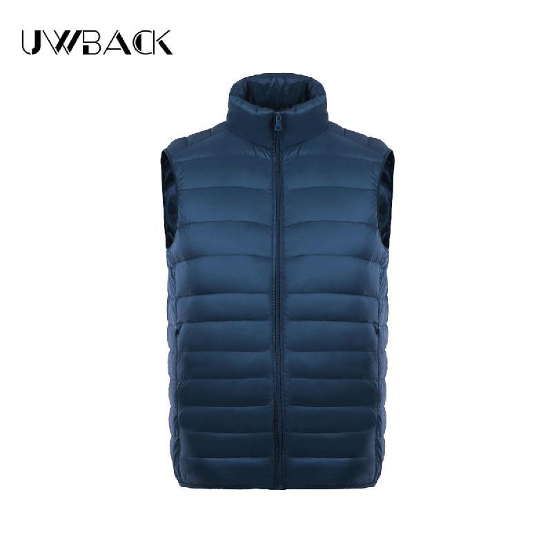 Uwback Men Vest Stand Collar White Duck Down Waist Light S Warm Solid Vest Homme-Vests-Bargain Bait Box-black-S-Bargain Bait Box