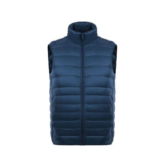 Uwback Men Vest Stand Collar White Duck Down Waist Light S Warm Solid Vest Homme-Vests-Bargain Bait Box-navy-S-Bargain Bait Box