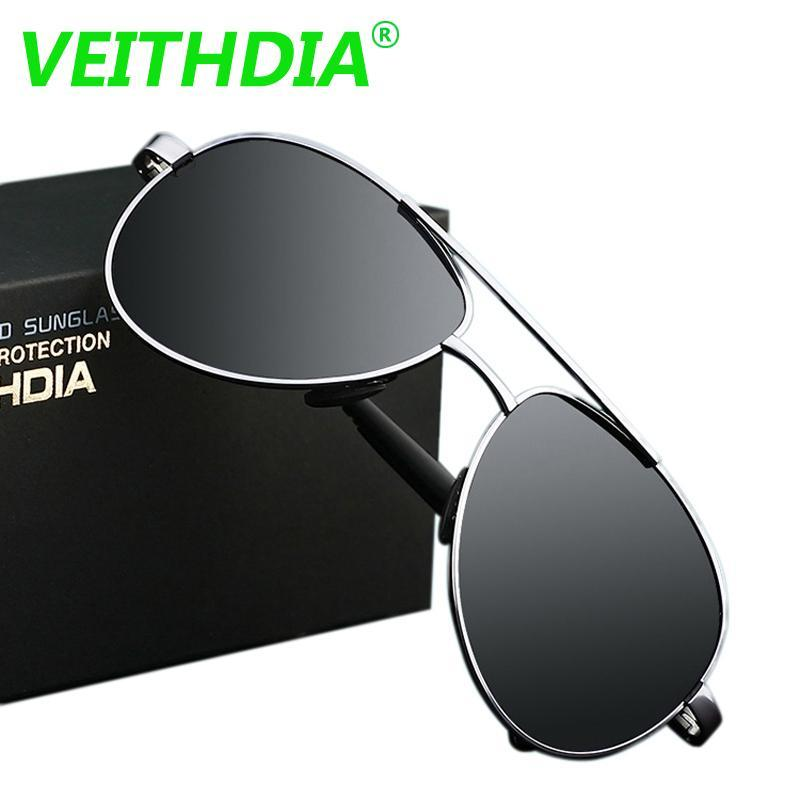 Veithdia Uv400 Pilot Yurt Sun Glasses Men Polarized Sunglasses Logo Design-Polarized Sunglasses-Bargain Bait Box-black frame-China-Bargain Bait Box