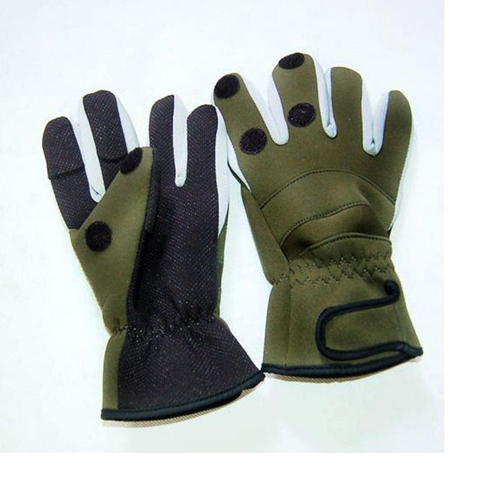 Waterproof Fishing Glove Thicken Warm 3 Fingers Cut Expose Out Lure Glove-Gloves-Bargain Bait Box-Army Green-M-Bargain Bait Box