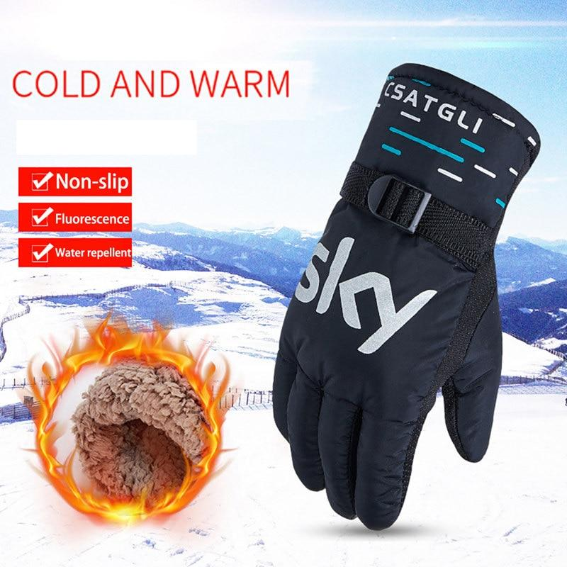 Waterproof Winter Ski Gloves Windproof Warm Snowboard Gloves Outdoor Below-Skiing Gloves-Sandia Store-black-Bargain Bait Box