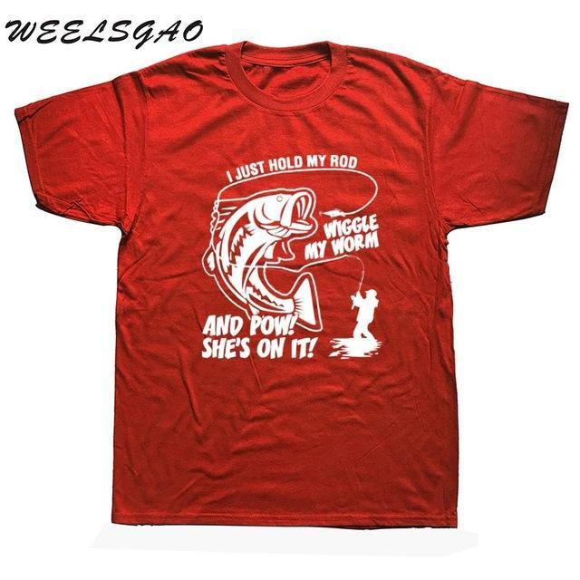Weelsgao Fishinger Funny Quote T Shirt Cotton Short Sleeve Black White Custom-Shirts-Bargain Bait Box-red-S-Bargain Bait Box