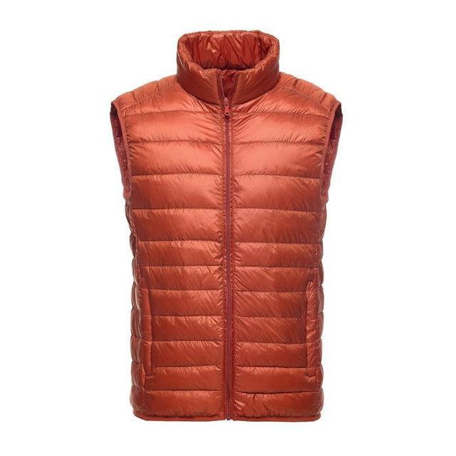 White Duck Down Vest Men Ultralight Sleeveless Casual Slim Waist Vest Male-Vests-Bargain Bait Box-Orange-XL-Bargain Bait Box