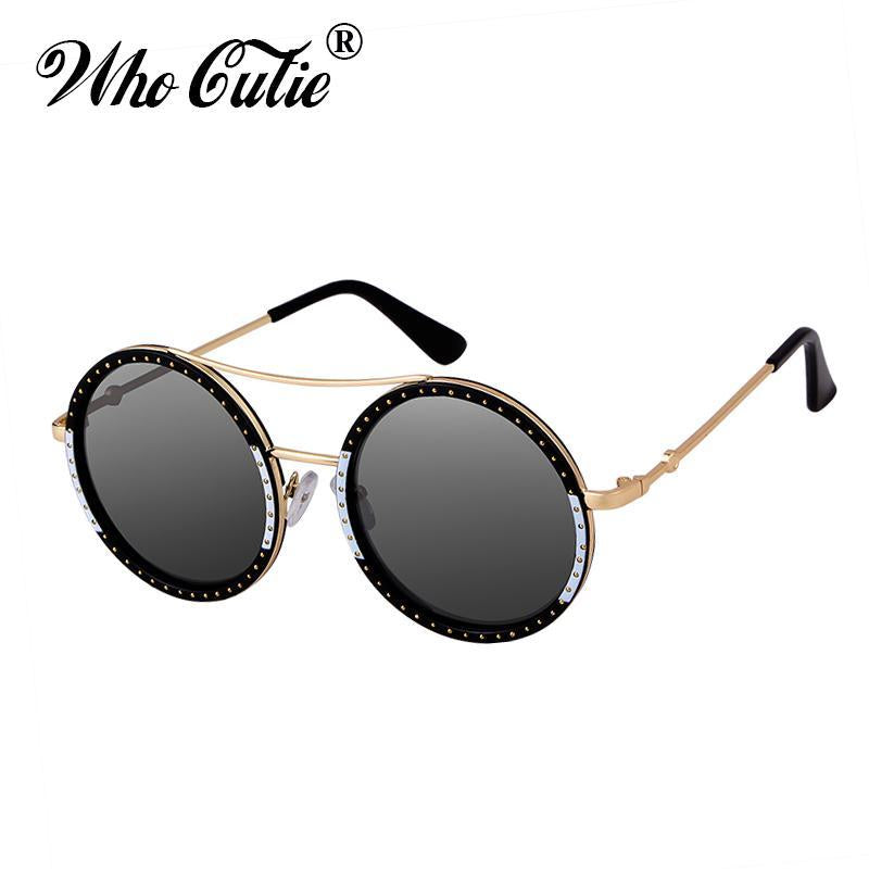 Who Cutie Red Green Round Punk Sunglasses Women Brand Designer Metal-Sunglasses-WHO CUTIE Official Store-C1-Bargain Bait Box