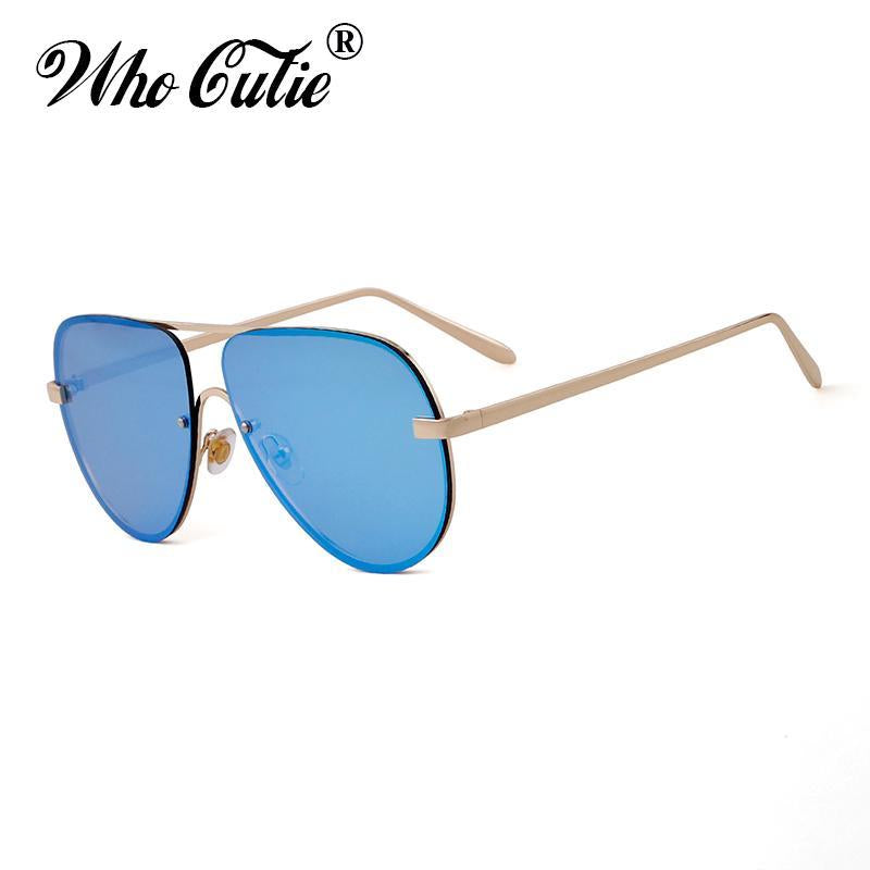 Who Cutie Rimless Aviator Sunglasses Men Women Fashion Colotful Lens-Sunglasses-WHO CUTIE Official Store-C1-Bargain Bait Box