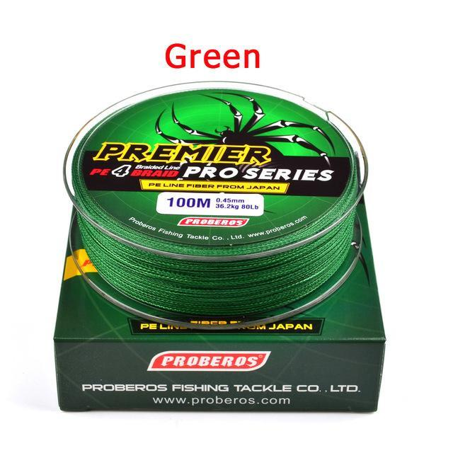 Wholesale 100M 4X Braided Fishing Line 5 Colorssuper Strong Japanese-Sports fishing products-Green-0.4-Bargain Bait Box