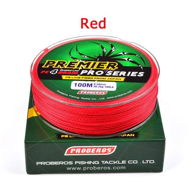Wholesale 100M 4X Braided Fishing Line 5 Colorssuper Strong Japanese-Sports fishing products-Red-0.4-Bargain Bait Box