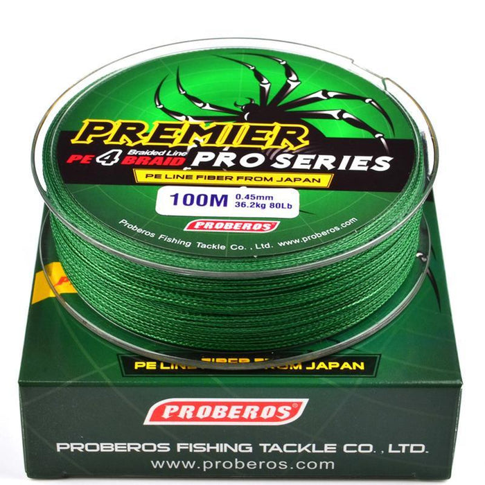 Wholesale 100M 4X Braided Fishing Line 5 Colorssuper Strong Japanese-Sports fishing products-Yellow-0.4-Bargain Bait Box