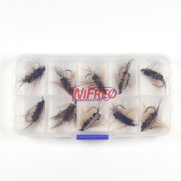 Wifreo 10Pcs #6 Black Body Woolly Worm Brown Caddis Nymph Fly Deer Hair Beetle-Flies-Bargain Bait Box-10pcs in Box-Bargain Bait Box