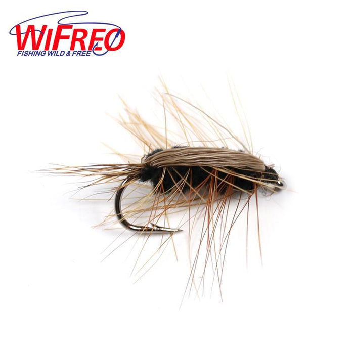 Wifreo 10Pcs #6 Black Body Woolly Worm Brown Caddis Nymph Fly Deer Hair Beetle-Flies-Bargain Bait Box-10pcs in Small Box-Bargain Bait Box