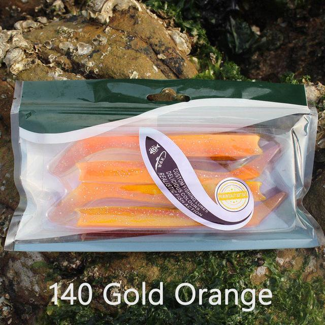 W&K Brand 14Cm 13G Soft Lure 12Colors Big Paddle Tail Fishing Bait Handmade-W&K Official Store-Gold Orange-Bargain Bait Box