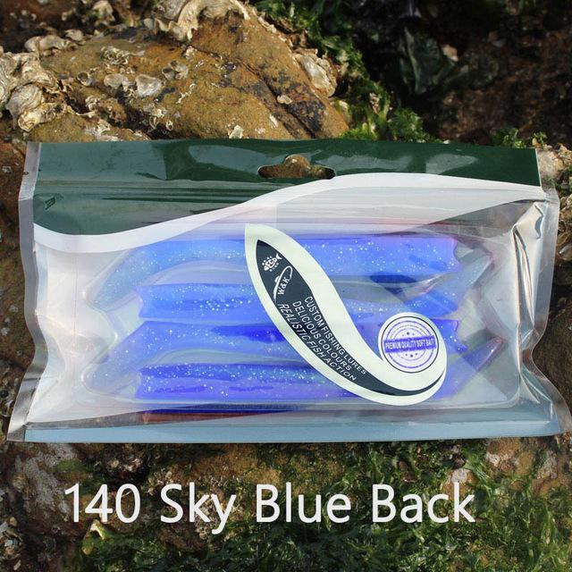W&K Brand 14Cm 13G Soft Lure 12Colors Big Paddle Tail Fishing Bait Handmade-W&K Official Store-Sky Blue-Bargain Bait Box