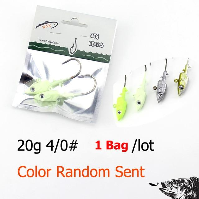 Wk Fishing Hook 20G 30G 40G Jig Head Hook For Soft Shad Lure 2Pcs/Lot Strong Jig-Jig Heads for Swimbaits-W&K Official Store-20g SY JIG Head-Bargain Bait Box