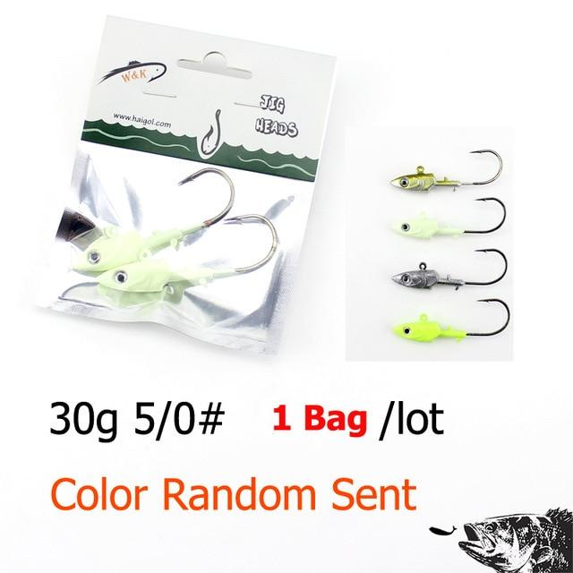 Wk Fishing Hook 20G 30G 40G Jig Head Hook For Soft Shad Lure 2Pcs/Lot Strong Jig-Jig Heads for Swimbaits-W&K Official Store-30g SY JIG Head-Bargain Bait Box