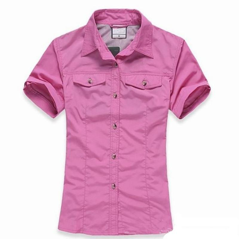 Women Sports Quick Dry Shirt Removable Short Long Sleeve T-Shirt For Camping-Shirts-Bargain Bait Box-hot pink-S-Bargain Bait Box