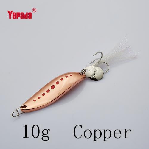 Yapada Spoon 012 Leech 10G/15G/20G Treble Hook +Feather+Sequins 55Mm/55Mm/58Mm-yapada Official Store-Copper 10g-Bargain Bait Box