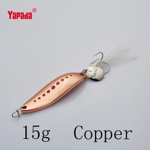 Yapada Spoon 012 Leech 10G/15G/20G Treble Hook +Feather+Sequins 55Mm/55Mm/58Mm-yapada Official Store-Copper 15g-Bargain Bait Box