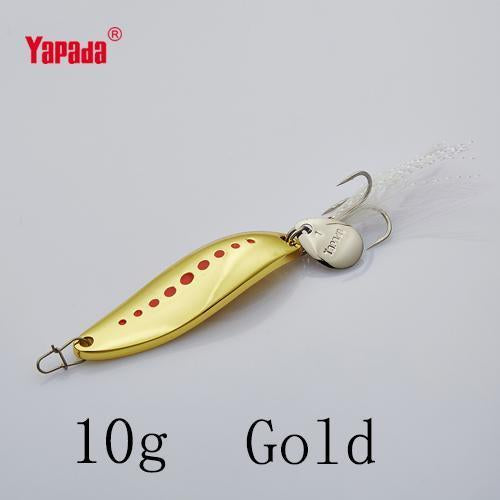 Yapada Spoon 012 Leech 10G/15G/20G Treble Hook +Feather+Sequins 55Mm/55Mm/58Mm-yapada Official Store-Gold 10g-Bargain Bait Box