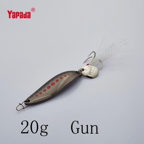 Yapada Spoon 012 Leech 10G/15G/20G Treble Hook +Feather+Sequins 55Mm/55Mm/58Mm-yapada Official Store-Gun 20g-Bargain Bait Box