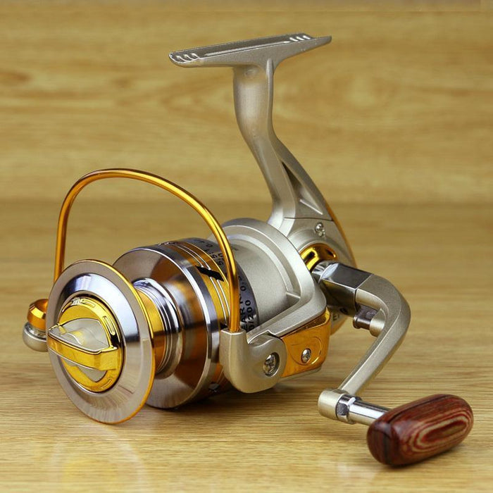 Yellow 10Bb Spool Aluminum Spinning Fishing Reels For Front Drag Baitcasting-Spinning Reels-Sports fishing products-1000 Series-Bargain Bait Box