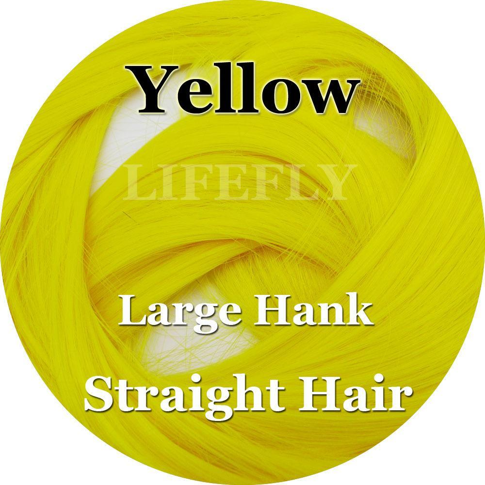 Yellow Color, Large Hank Of Straight Syn. Hair, Fish Fibre, Fly Tying, Jig, Lure-Fly Tying Materials-Bargain Bait Box-Bargain Bait Box