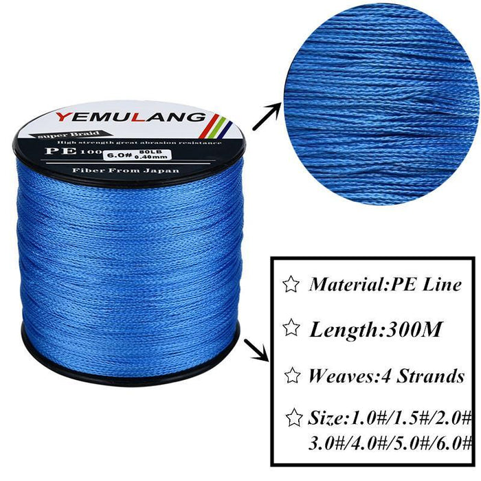 Yemulang 300M Pe Braided Fishing Lines 4 Strands Multifilament Crod Fishing Pe-SongHua Fishing Store-Multicolor-1.0-Bargain Bait Box