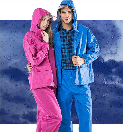 Yuding Fishing Suit Raincoat Polyester Rain Coat Men Women Rain Cover Navy-Rain Suits-Bargain Bait Box-Blue-M-Bargain Bait Box