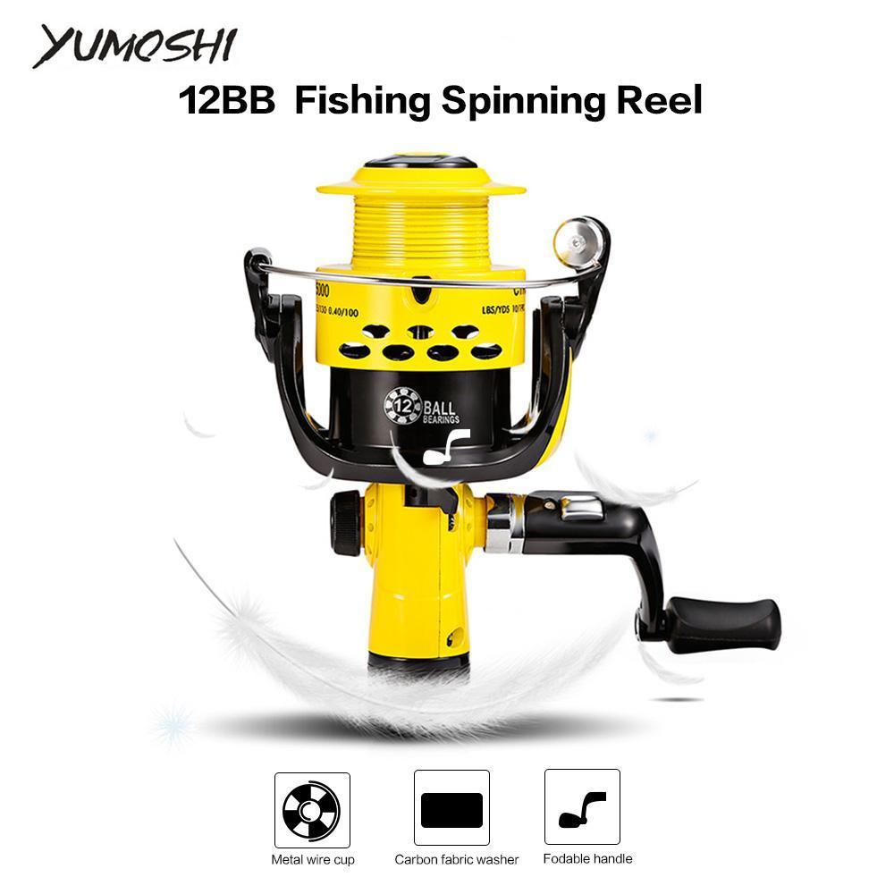 Yumoshi 12Bb 5.5:1 Ratio Fishing Reels Lightweight Plastic Spinning Fishing Reel-Spinning Reels-Shenzhen Outdoor Fishing Tools Store-2000 Series-Bargain Bait Box