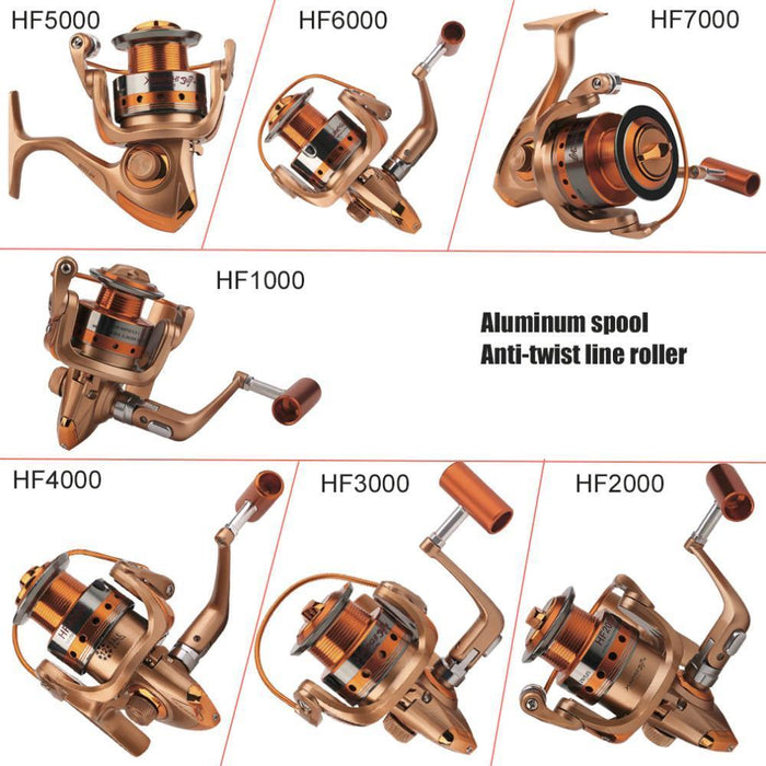 Yumoshi Hf1000-7000 Round All-Metal Wire Cup Fishing Reel Full Metal Rocker-Spinning Reels-ON THE WAY Store-1000 Series-Bargain Bait Box