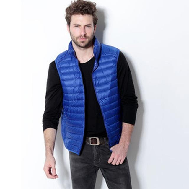 Yuwaijiaren Men'S Vest Down Vests Duck Down Vest Men Stand Collar Sleeveless-Vests-Bargain Bait Box-Blue-S-Bargain Bait Box