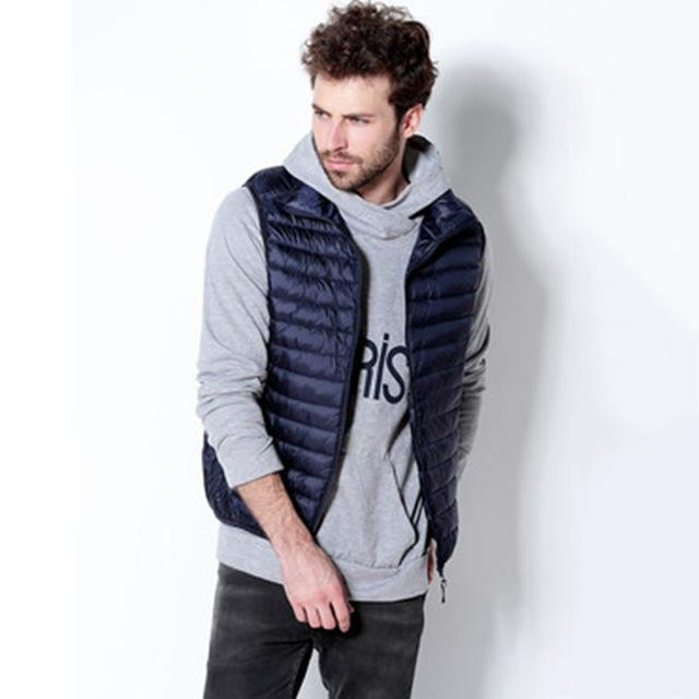Yuwaijiaren Men'S Vest Down Vests Duck Down Vest Men Stand Collar Sleeveless-Vests-Bargain Bait Box-Navy Blue-S-Bargain Bait Box