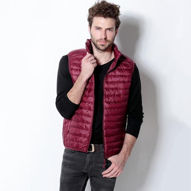 Yuwaijiaren Men'S Vest Down Vests Duck Down Vest Men Stand Collar Sleeveless-Vests-Bargain Bait Box-Wine Red-S-Bargain Bait Box