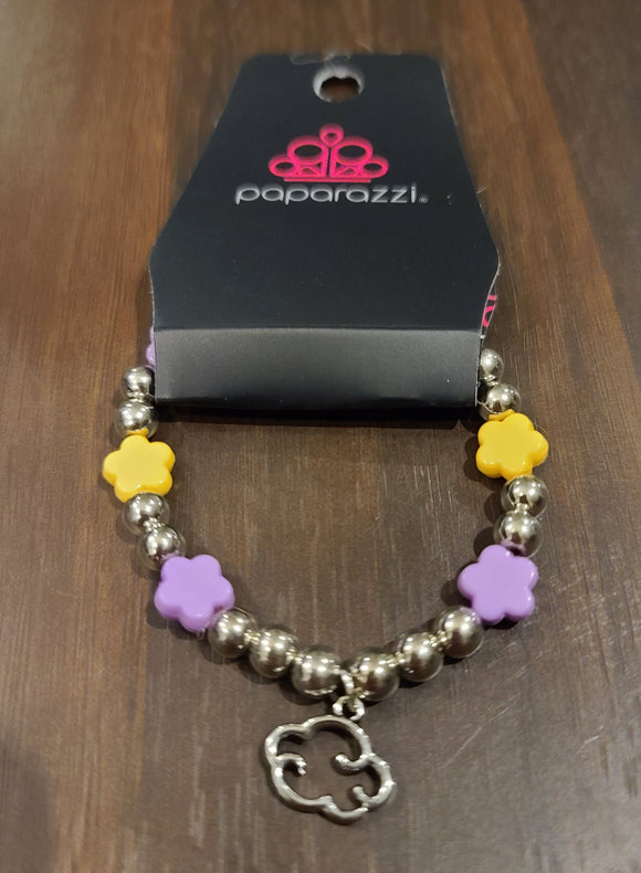 SS Bracelet Cloud Charm Purple Yellow