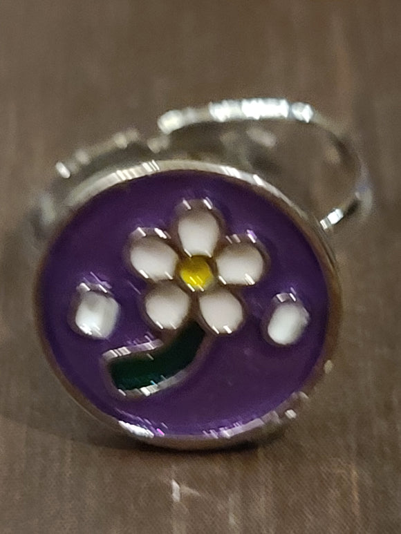 SS Ring Flower White Purple