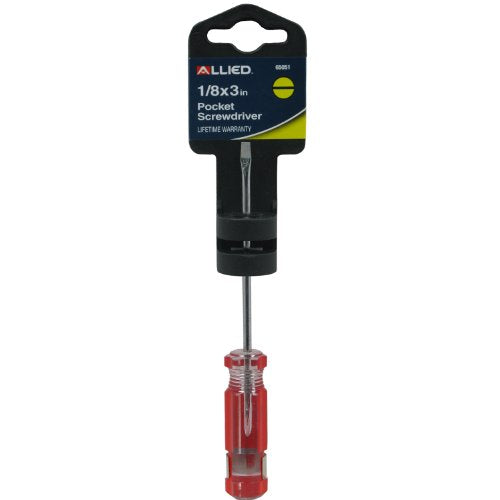 Allied Tools 65051 1/8-Inch x 3-Inch Pocket Screwdriver with Clip, Black