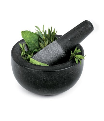Fresco Granite Mortar and Pestle, Black, 5-Inch