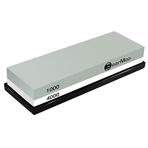 BearMoo Sharpening Stone ,2-IN-1 Whetstone,1000 / 4000 Grit Combination Knife Sharpener- Rubber Holder Included