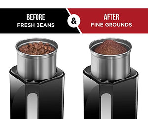 Chefman Coffee Grinder Powerful 250 Watt Electric Mill Freshly Grinds 2.5 oz Beans, Nuts, Seeds, Herbs & Spices, Includes Easy Push Start Button, Removable Stainless Steel Grinding Cup & Blade