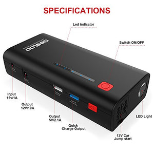Upgraded Car Jump Starter, GOOLOO 800A Peak 18000mAh (Up to 7.0L Gas or 5.5L Diesel Engine) Portable Auto Battery Booster Power Pack Phone Charger with Quick Charge 3.0, Built-in LED Light