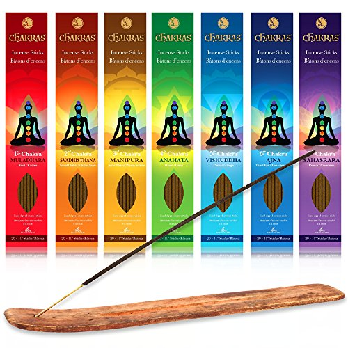 7 Chakras Quality Incense Sticks Variety Set of 140 x 60 minute sticks with wood burner Great for Meditation, Yoga, Relaxation, Magic, Healing, & Rituals - 100% Natural & Hand Dipped