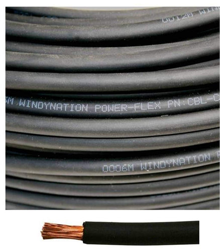2 Gauge 2 AWG Black Welding, Battery, Pure Copper Flexible Cable Wire