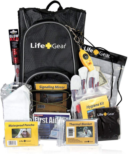 Emergency Survival Kit Backpack w/Emergency Gear & First Aid Kit