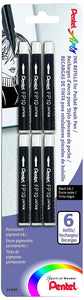 Pentel Arts Pocket Brush Refills, Black Ink, Pack of 6
