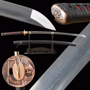 Vintage Metal, Damascus Sword, Folded Steel, Real Japanese Samurai Katana, Handmade, Delicate, Sharp