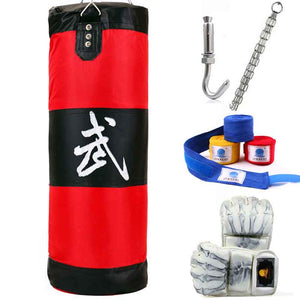90cm Punching Bag, Fitness Sandbags, Striking Drop Hollow Empty Sand Bag with Chain, Martial Art Training Punch Target