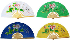 4 colours, martial arts performance fans, green/yellow/white/blue