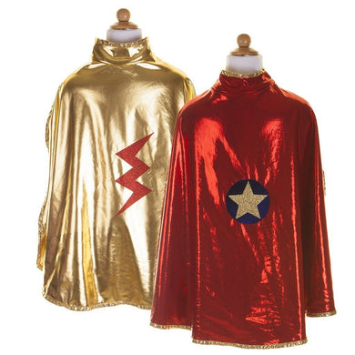 Reversible Wonder Cape, Red/Gold, Size 5-6