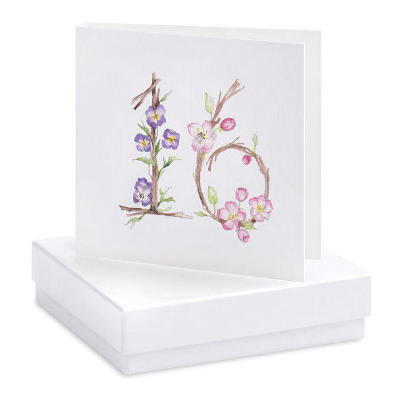 Crumble & Core Boxed Floral 16th Earring Card