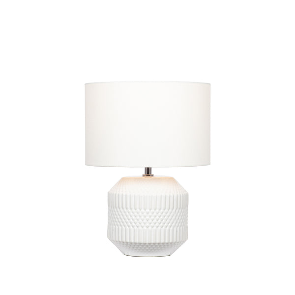 Meribel White Geo Textured Ceramic Table Lamp